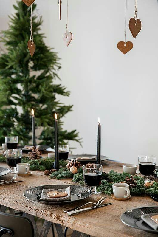 Scandinavian inspired holiday table setting