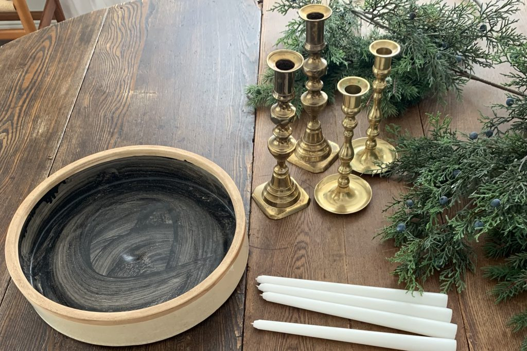 Gather the Christmas Advent wreath materials