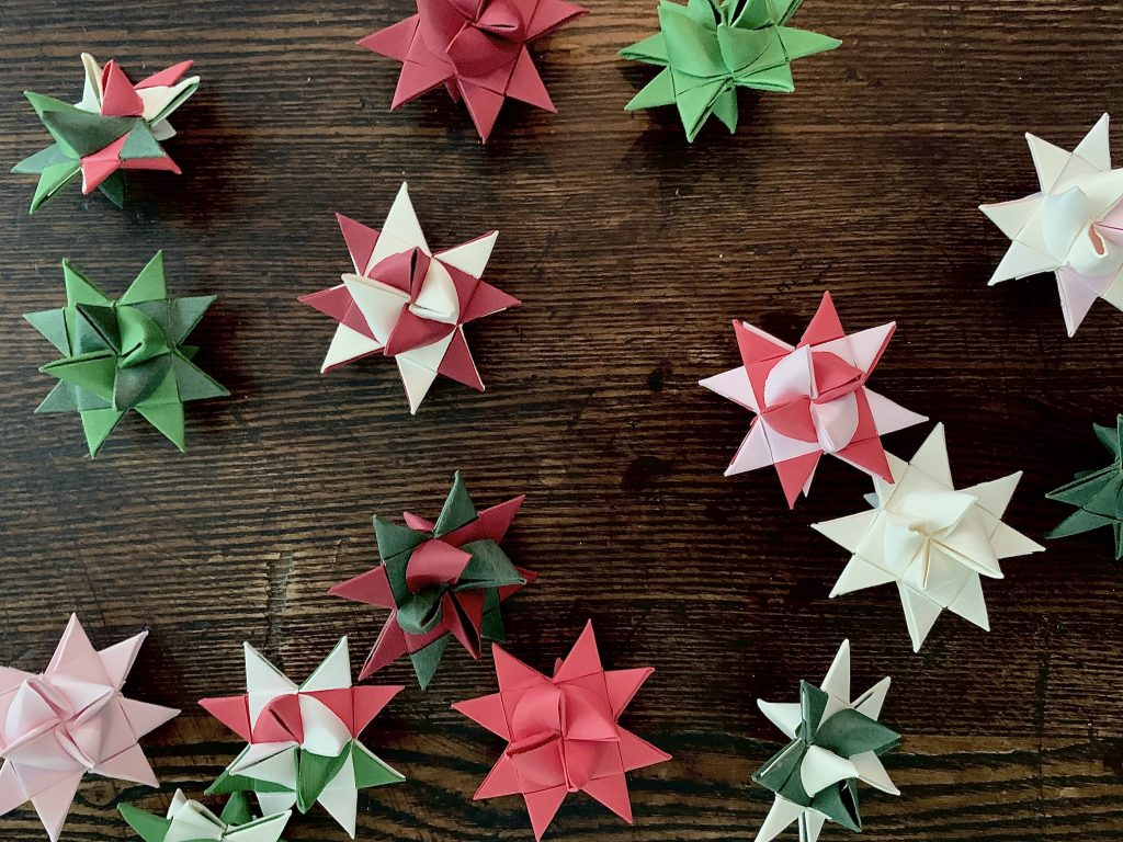 Folded paper Danish 8 point stars for ornaments